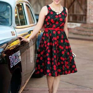 Dresses & Skirts - Cherries Print Swing Dress with Belt